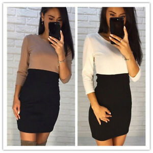 Women-Bandage-Bodycon-Long-Sleeve-Evening-Party-Cocktail-Pencil-Short-Dress-FA
