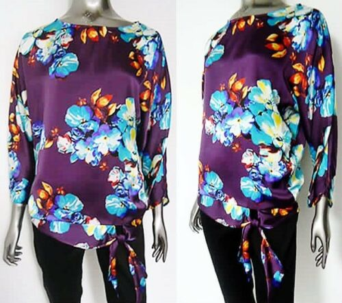 BARGAIN!! NEW BEAUTIFUL PURPLE /& BLUE FLORAL SIDE TIE TOP SIZES  16  20*