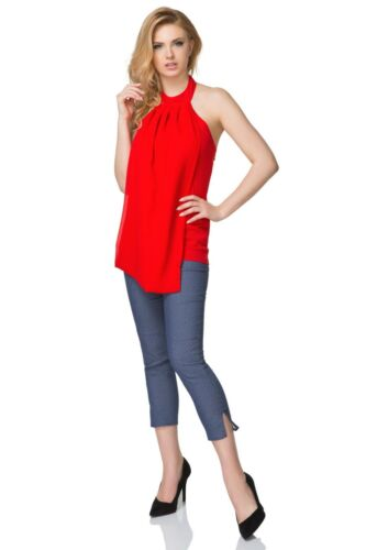 Women/'s Casual Sleeveless Blouse High Neck Romantic Open Back Summer Top FK1553