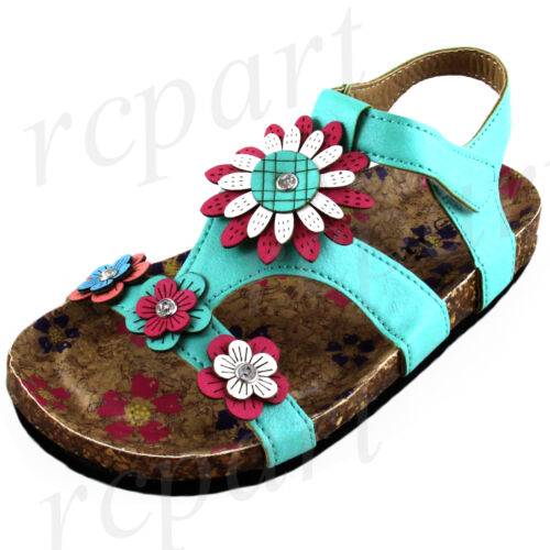 New girl/'s kids sandals mint green flowers summer casual open toe soft foot bed