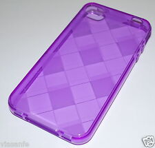 Per iPhone 4S Cover Custodia Bumper Silicone Flessibile Gel ViolaTrasparente Tpu