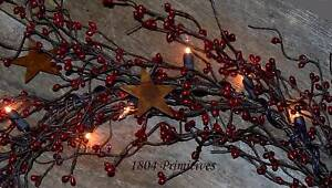 """80/"""" End to End Lighted Pip Berry Garland ~ ANTIQUE GOLD ~ Connect Multiple"""