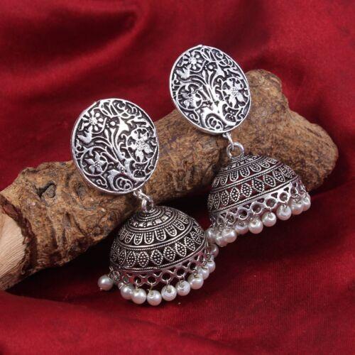 Bollywood Oxidized Silver Plated Handmade white pearls Second Jhumka Jhumki #G60