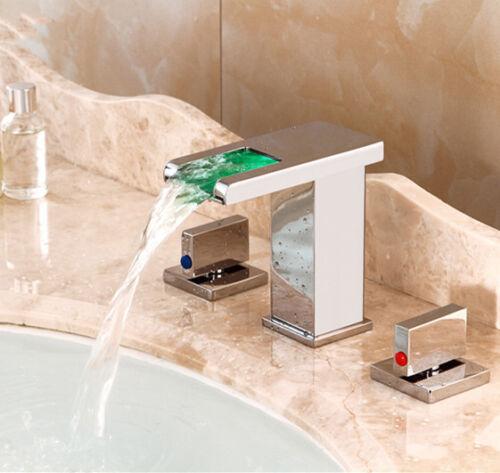 Bathroom 3PCS LED Waterfall 2 Handles Basin Faucet Deck Mount Sink Mixer Taps