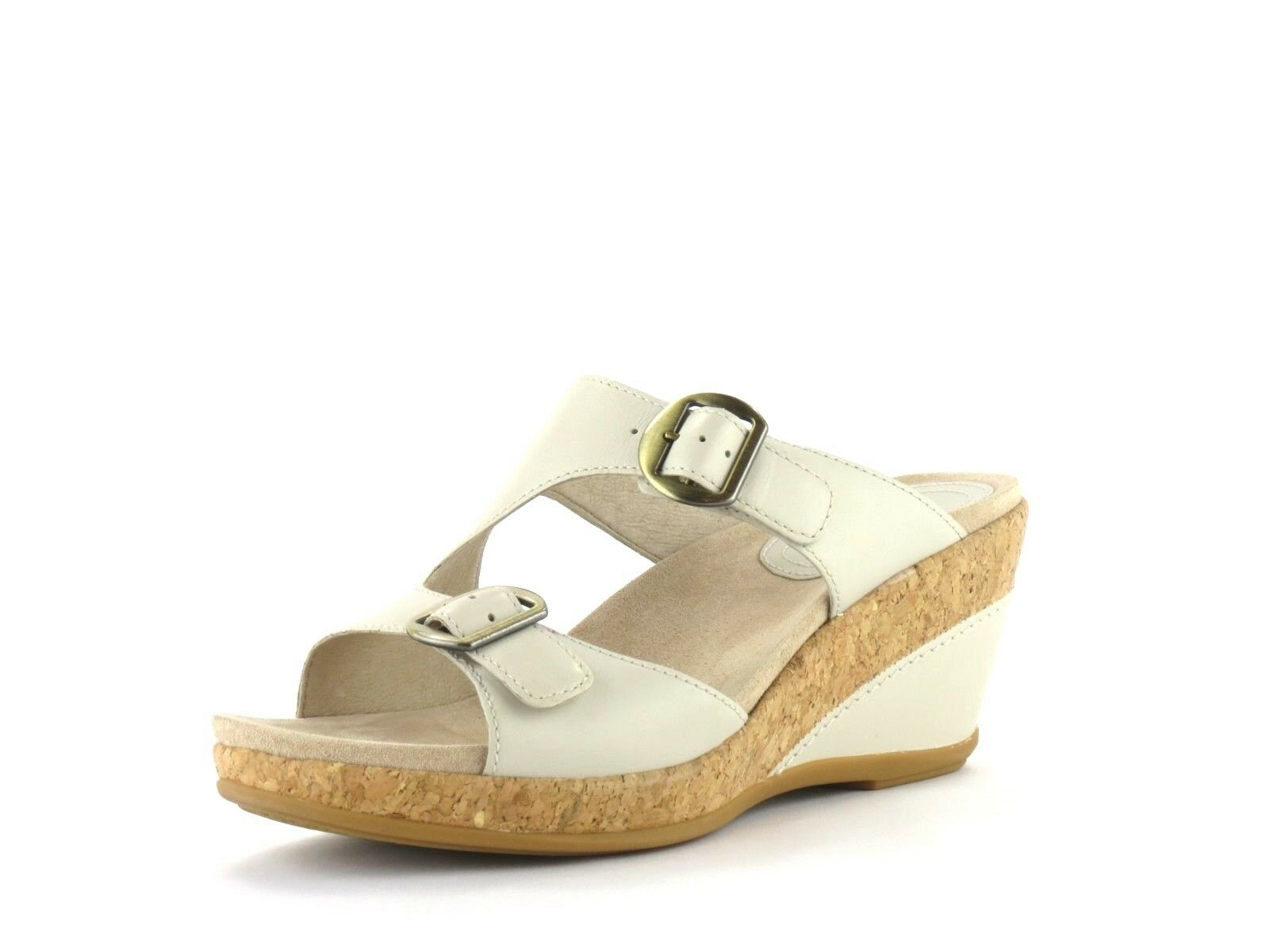 Dansko Carla Ivory Full Full Full Grain Leather Double Strap Cork Wedge Platform Sandal 41 233e89