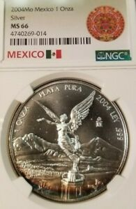 2004-MEXICO-SILVER-LIBERTAD-ONZA-NGC-MS-66-BRIGHT-RAINBOW-CRESCENT-TONING