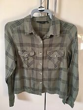 Ladies Khaki Cropped Check Shirt Size 14 From New Look