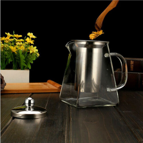 Heat Resistant Clear Glass Teapot Jug Infuser For Coffee Tea