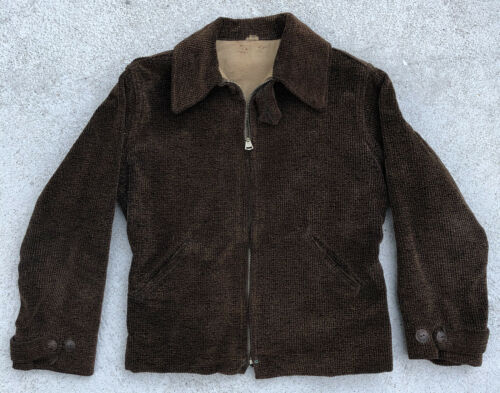 Vintage 1930s Brown Corduroy Sports Jacket Grommet