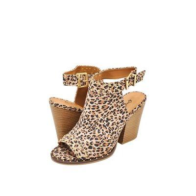 Women's Shoes Qupid BARNES 230CX Studded Open Toe Slingback Heels LEOPARD *New*
