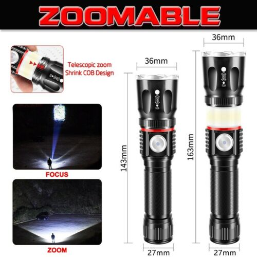 3000LM T6 LED Flashlight USB Rechargeable COB Magnetic Torch Zoom Light Battery