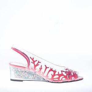 Azuree Cannes Patente transparente de Sandalia Calzado de Cuña Coral Conchas mujer cuña rrndY1
