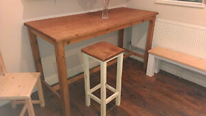Handmade Bespoke Freestanding Breakfast Bar Kitchen Island With Footrests Ebay