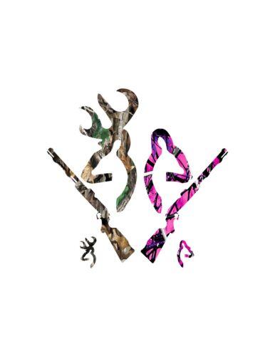 Deer Gun decal Camo Muddy girl