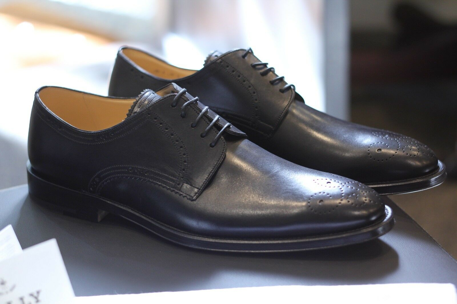 Bally Tatoon Derby De Becerro Negro Zapatos Raro Descatalogado Swiss Nuevo Tamaño 11.5 D