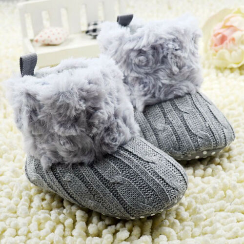 Baby Kid Girl Knitted Furry Boots Booties Fleece Warm Winter Snow Crib Shoes