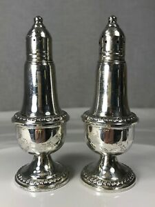 Empire-Sterling-Silver-Weighted-Salt-amp-Pepper-Shakers-242-Glass-Inserts-5-1-8-034