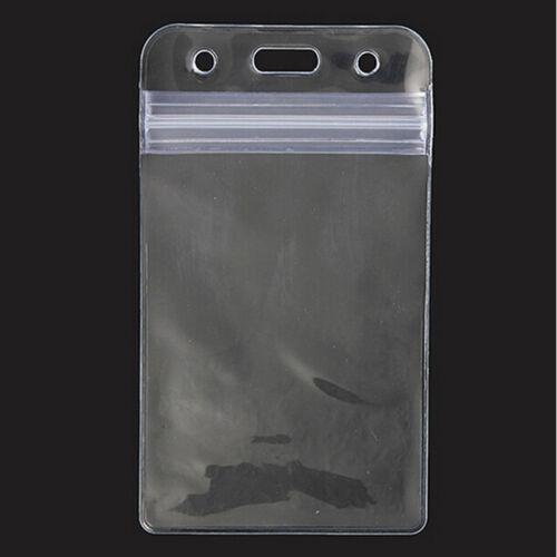 10Pcs ID Card Vertical Plastic Badge Holder Vinyl Transparent Clear With Zipper