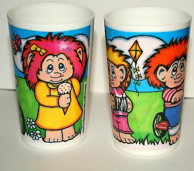 Set of 2 Vintage Hard Plastic Norfin Troll Drink  Beverage Cups 1992 Nos New