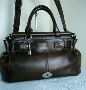 Fossil-Authentic-Cow-Hide-Leather-Brown-Satchel-Shoulder-Cross-Body-Hand-Bag-N31
