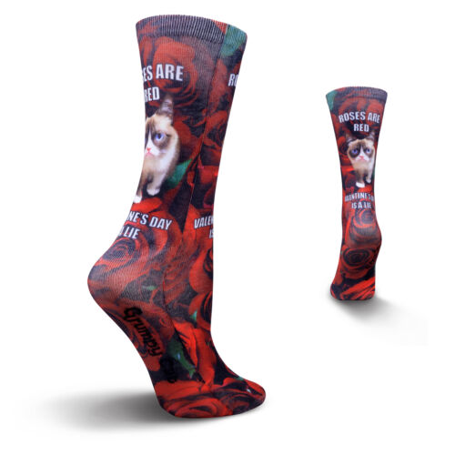 K.Bell Grumpy Cat Roses Are Red Valentines Day Is A Lie Womens Socks New