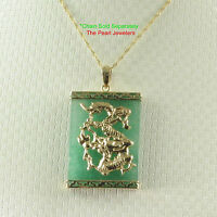 Tpj 14k Solid Yellow Gold Hand Crafted Dragon 22x30mm Board Green Jade Pendant