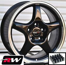 "Corvette Wheels C4 ZR1 Black Rims 17"" inch 17x9.5"" & Lug Nuts fit C4 1984-1987"