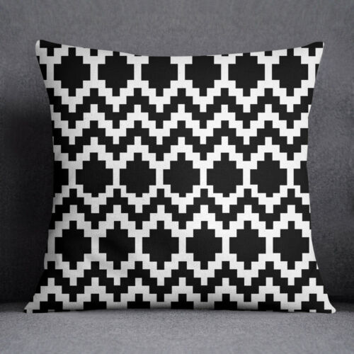 S4Sassy Black Square Cushion Cover Décorative Throw ow Case Ikat Printed