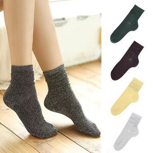 FT-Women-Retro-Glitter-Socks-Silver-Shiny-Socks-Autumn-Winter-Casual-Socks-Eyef