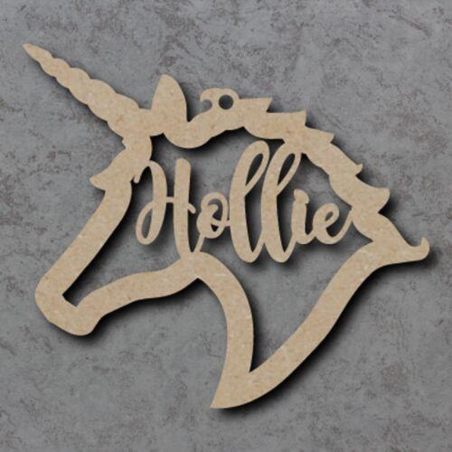 Large Personalised Name MDF Unicorn Head Craft Wooden Shape Blank Wood 15-35cm