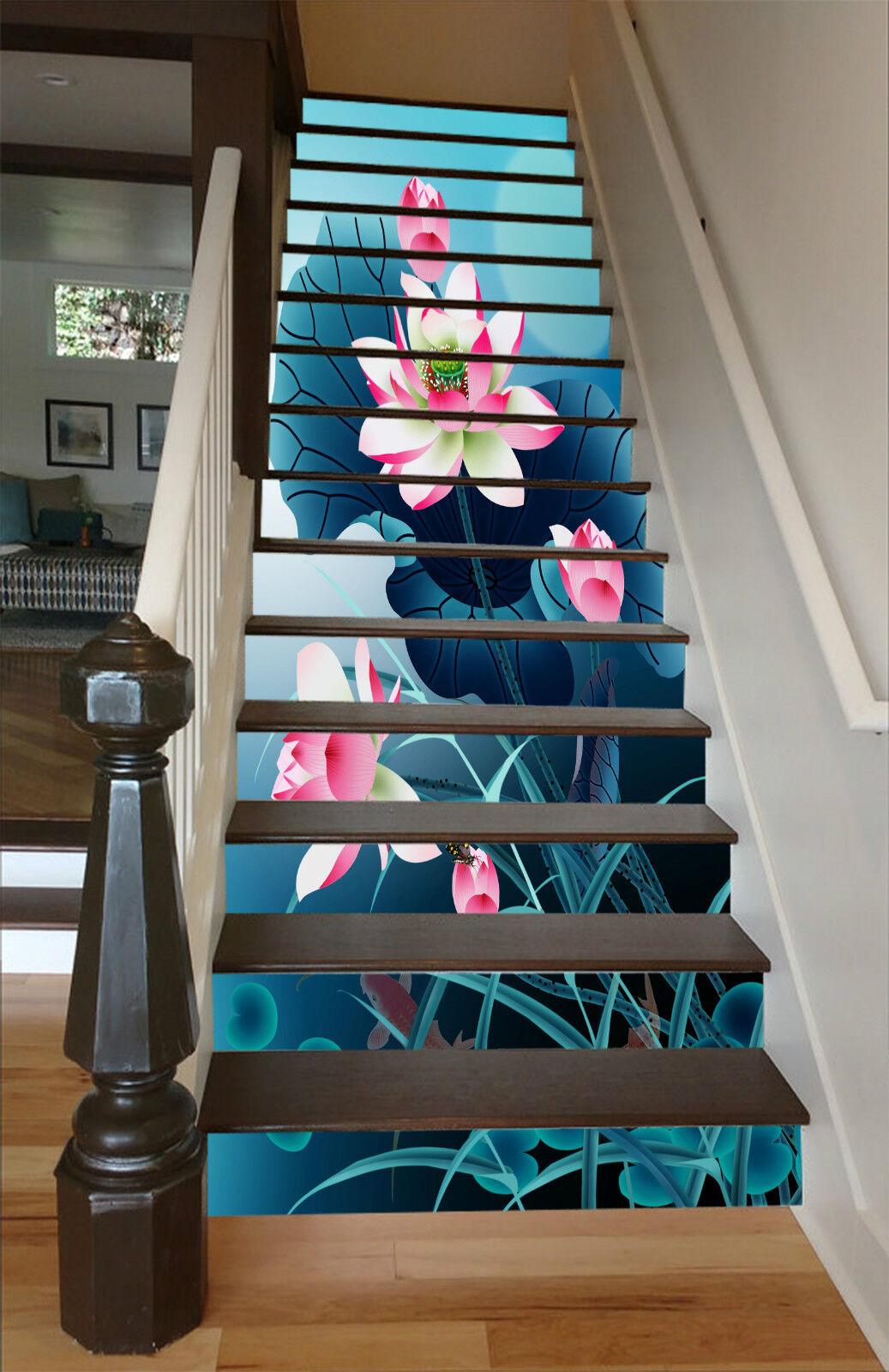 3D Schöner Lotos 29 Stair Risers Dekoration Fototapete Vinyl Aufkleber Tapete DE