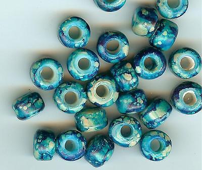 CROW//PONY GLASS BEAD 100 9mm MUSTARD//WHITE TIE DYE