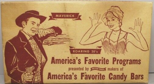 TV Cowboy Western 1960 Maverick Jack Kelly Roaring 20's Mounds Candy Display Box