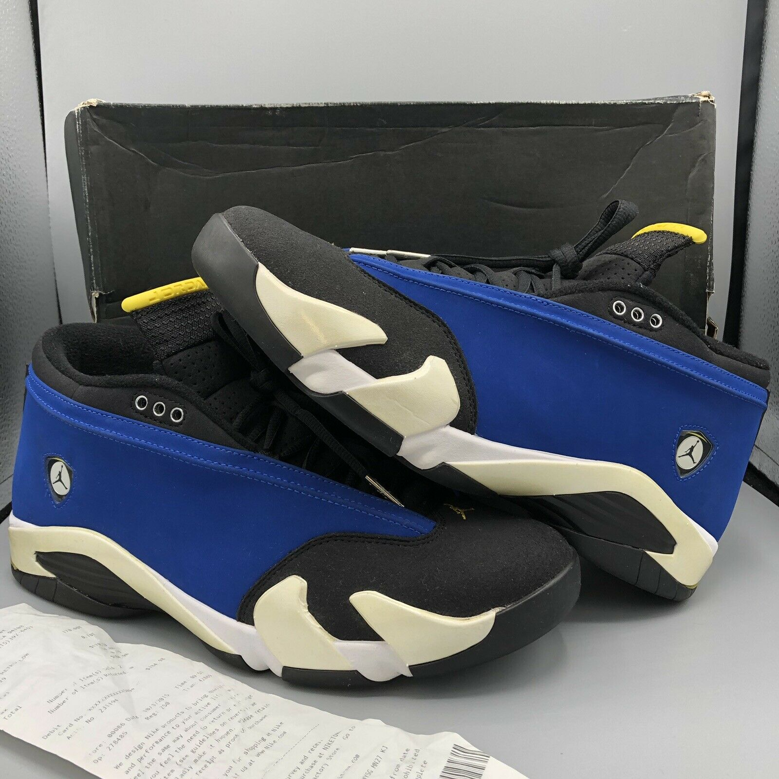 5bb8339651 Jordan Retro XIV Low Laney bluee bluee bluee Maize Yellow Black 807511 405  Sz 12 Warriors