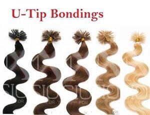 125-Remy-Echthaar-Extensions-1g-45cm-Bondings-Waermezange-Haarverlaengerung-Wellig