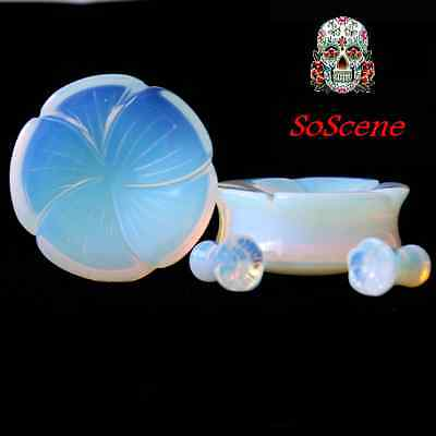 PAIR-FLOWER CARVED Opalite Ear gauges -Ear Plugs-Flesh Ear Tunnels-Organic