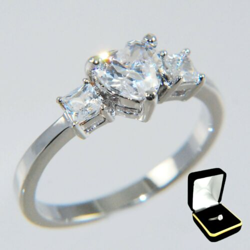 1.09CTW ~HEART~ PRINCESS STONES ENGAGEMENT BRIDAL RING size #5,6,7,8,9,10 //w BOX