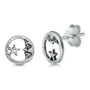 Moon-amp-Star-Stud-Earrings-Genuine-Sterling-Silver-925-Gift-Product-Height-7-mm