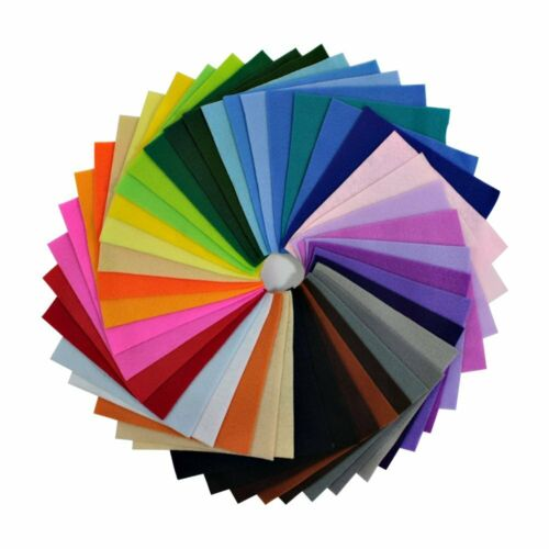 42Pcs 6x6 inch Polyester Soft Felt Fabric Sheets Assorted Colors 1.5mm Thick