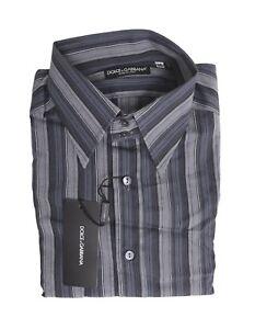 250-Dolce-amp-Gabbana-Italy-Gray-Blue-Mens-Cotton-Dress-Shirt-Size-15-5-40