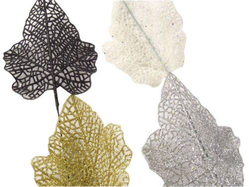 Small 11cm Glitter Leaves