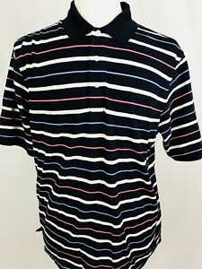 Brooks-Brothers-Polo-Shirt-Mens-Size-Large-Navy-Blue-Striped-Golf-M