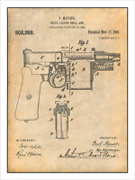1908 Mauser Recoil Loading Pistol Patent Print Art Drawing Poster 18x24