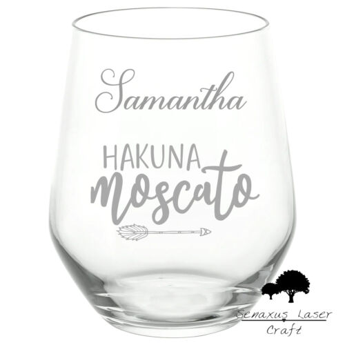 "Personalised Engraved Stemless wine Glass /""Hakuna Moscato/"" gift SWG55"