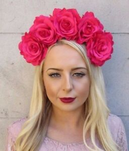 image is loading large hot pink rose sugar skull flower headband