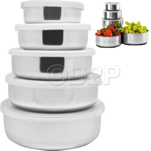 5PC en Acier Inoxydable Bol Set avec couvercles en plastique cuisine Conteneur de stockage Neuf