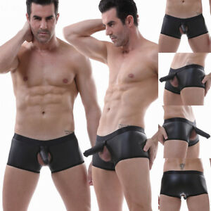 Men-039-s-Elephant-Underwear-Boxer-Brief-Sexy-Mesh-Faux-Leather-Trunks-M-L-XL-2XL
