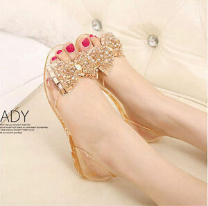 513b6d907df032 NEW Women Lady Flowers Bow Crystal Flat Sandals Beach Jelly Shoes ...
