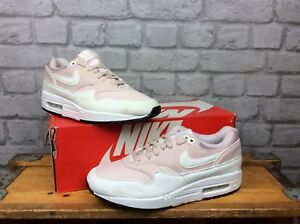 NIKE-AIR-MAX-1-LADIES-UK-7-EU-41-BARELY-ROSE-WHITE-MESH-SUEDE-TRAINERS-RRP-100