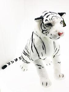 Peluche-Tigre-Blanche-Felino-Panthera-Tigris-Tigres-enorme-Geant-Assise-100-cm